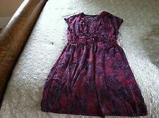 DAISY FUENTES Womens Size Medium Purple Fushia Pink Navy Blue Cap Sleeve DRESS