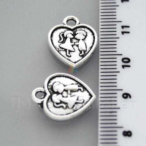 10 X Corazón Plata Antigua De Amor encantos 15x13mm colgante plata tibetana