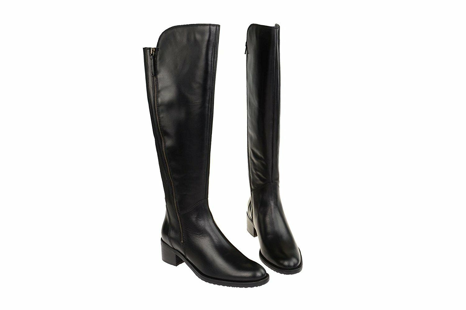 Clarks Ladies Knee-High Boots Valana Melpink Black Leather UK 5.5 5.5 5.5 Wide Fit   Leg 68d02b