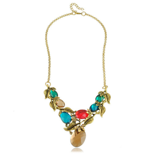 Vintage Style Colourful Red Green Blue Crystal Bib Collar Necklace Choker N199