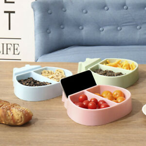 Nuts Dry Fruits Storage Dish Tray Snacks Plate Organizer with Phone Holder