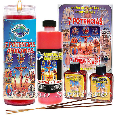 7 POTENCIAS AFRICANAS Ritual Set Fixed 7 DAY CANDLE,Oil-Essence,Bath Kit Vela