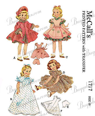 1950/'s Vintage 16 inch doll clothes sewing pattern with hat