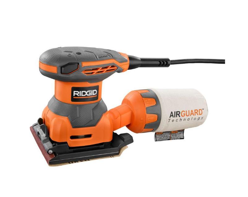 RIDGID New Sheet Sander 1 / 4 Inch Dust Bag Finishing Electric 2.4 Amp Hex Grip