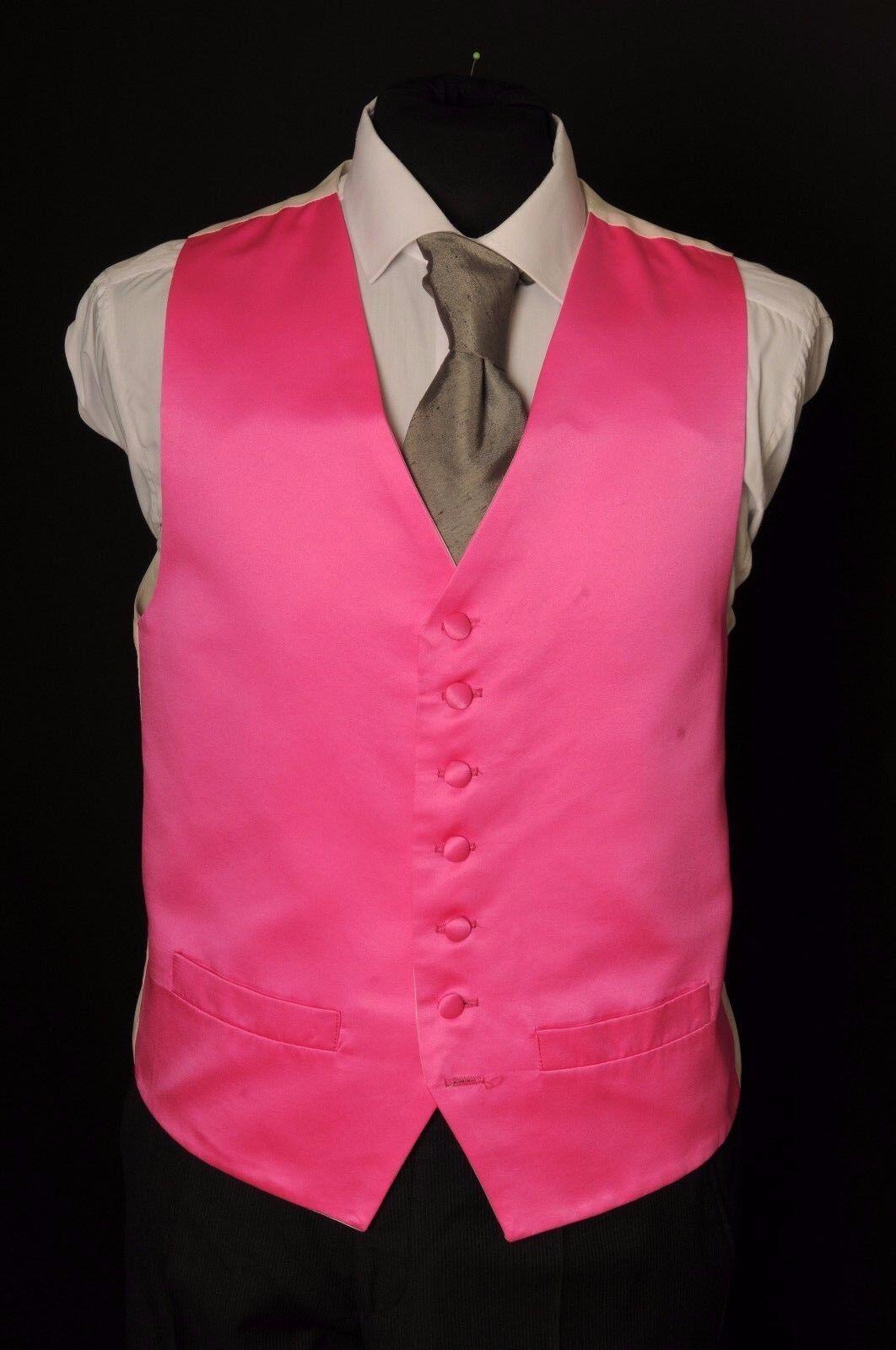 MENS/BOYS BRIGHT CANDY PINK SATIN WEDDING WAISTCOAT/ DRESS / FANCY / W - 1095.