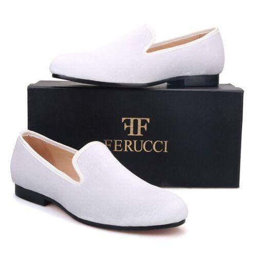Details about  /FERUCCI Plain white Velvet Loafer Slippers Flat Prom Wedding