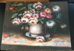 "Original Oil Painting Art On Canvas Signed "" J. Hagen "" Flowers Vase  16w X 12h"""