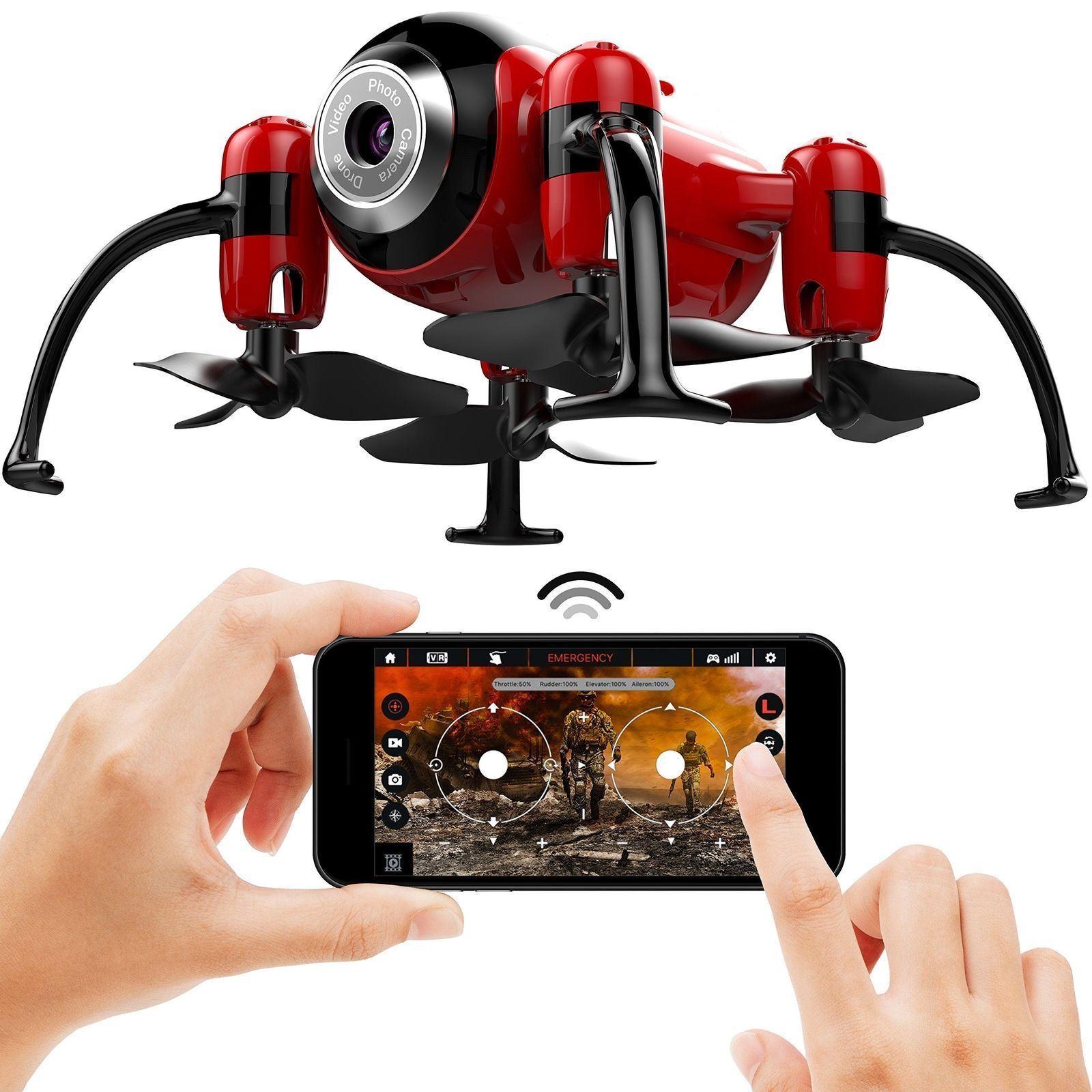 röd Mini Drone Quadcopter med Camera Video Stream, Altitude Hold, Headless Mode