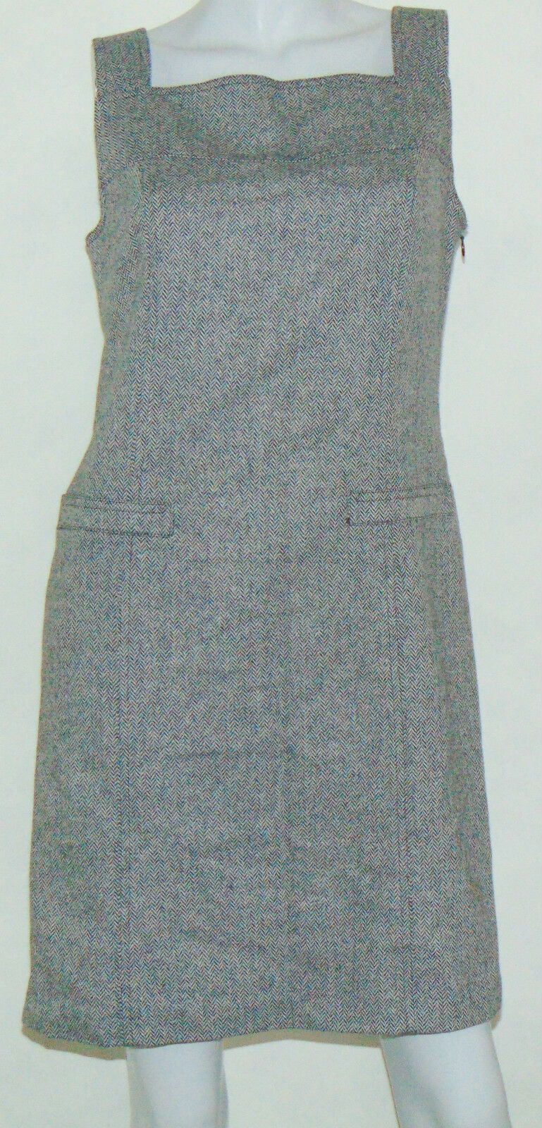 NWT Ann Taylor Loft Casual Sheath Dress 6 Wool Silk Sleeveless Herringbone Lined