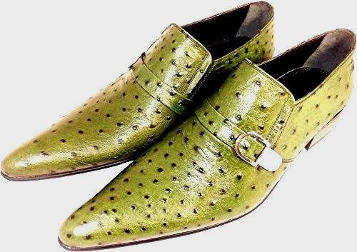 Suola Scarpe Leather Slipper cuoio da Chelsy 45 Green struzzo uomo in Fancy di gqw0FfS
