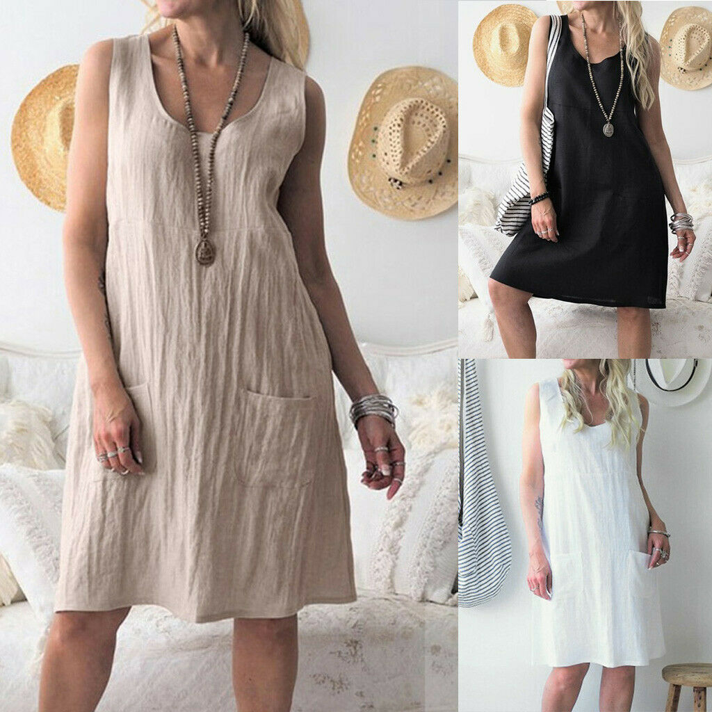 Women Cotton Linen O-neck Solid Color Sleeveless Loose Casual Pocket Mini Dress
