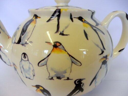 Penguins design 6 cup teapot by Heron Cross Pottery