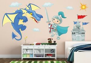 041 wandtattoo ritter drache kinderzimmer junge blau burg dragon schloss. Black Bedroom Furniture Sets. Home Design Ideas