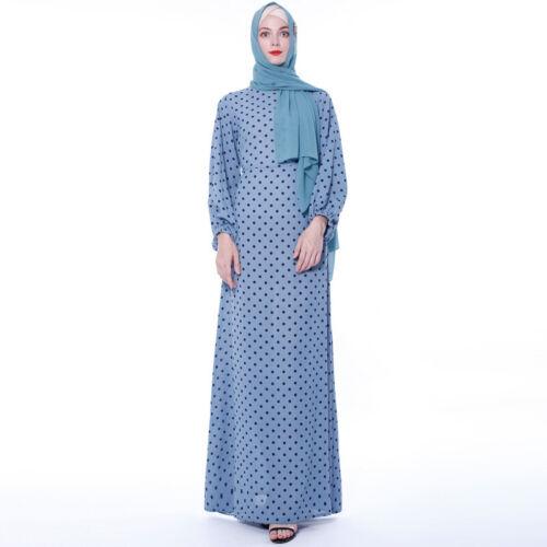 Muslim Polka Dot Print Abaya Chiffon Long Dress Women Dubai Kaftan Casual Robes
