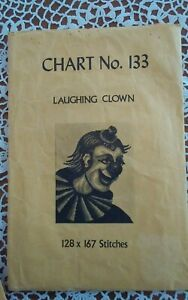 Rare-Babs-Fuhrmann-petit-point-needlepoint-chart-only-133-The-Happy-Clown