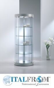 Image Is Loading Round Glass Display Cabinet Revolving Shelves Shop House