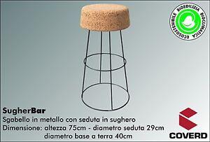 Sgabello in metallo con seduta in sughero sugherbar base cm 40 x h
