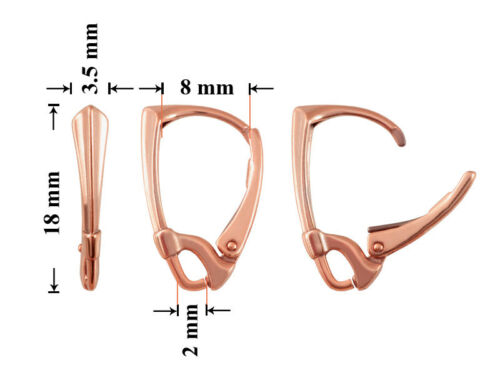 Choose Plating Sterling Silver Leverback Earring Hooks with Open Loop 18x8mm