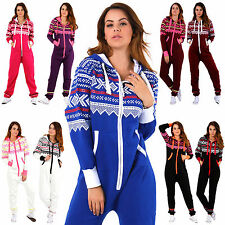 New Ladies Aztec Print Hooded Zip Up Onisie All In One Jumpsuit [SMALL to 5XL]