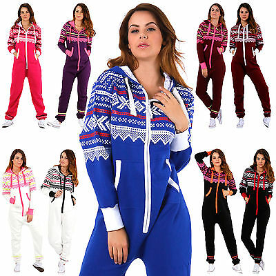 Hingebungsvoll New Ladies Aztec Print Hooded Zip Up Onisie All In One Jumpsuit [small To 5xl]