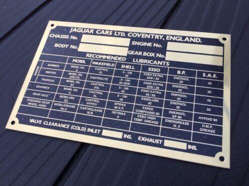 JAGUAR XK 120 XK 140 Laiton Plaque d/'identification