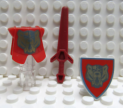 Shield Sword Dark Red and Red refA12 New Lego Castle Gold Bear Armor