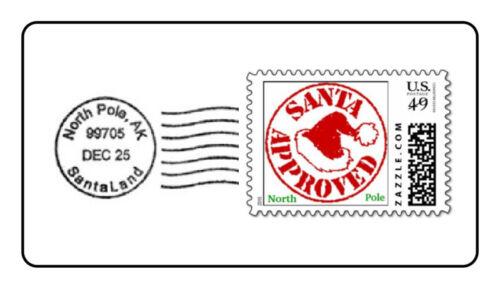 North Pole Postmark Stickers Santa Christmas Stamp Labels