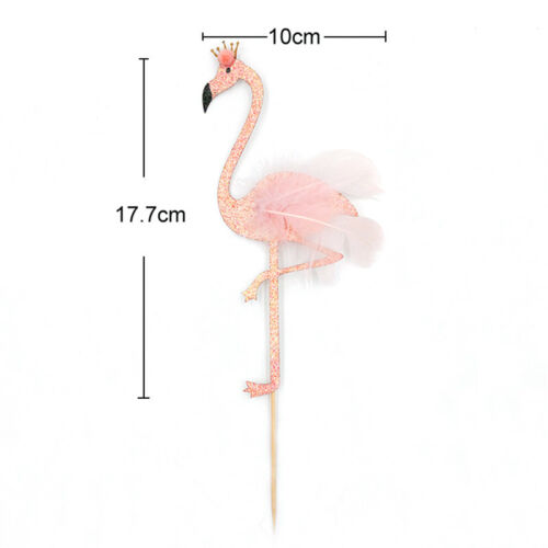 high glitter feather flamingo cake topper tropical hawaiian party decoration  ZP