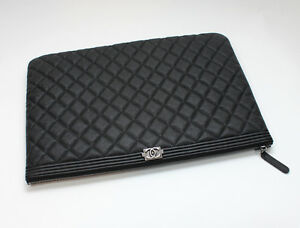 360c65547cf7 NEW CHANEL O CASE Large Boy Clutch Black Quilted Caviar 100 ...