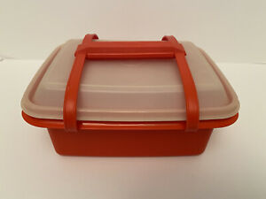 Vintage Tupperware #1254 Poppy Red Pack N Carry Lunch Box with Handle