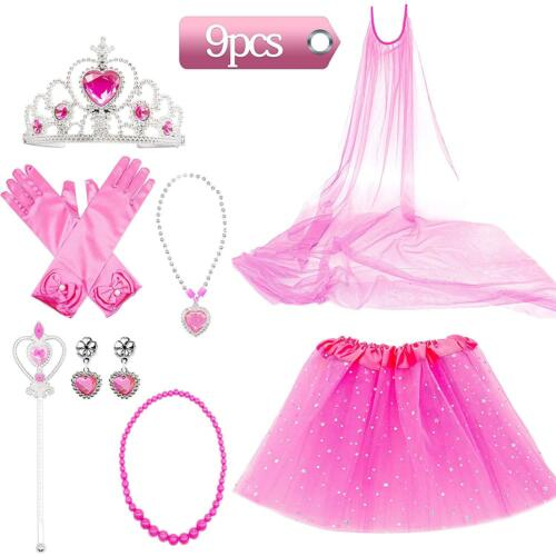 Princess Dress Up Costume Accessories Elsa For cosplay Gloves Tiara Wand Set