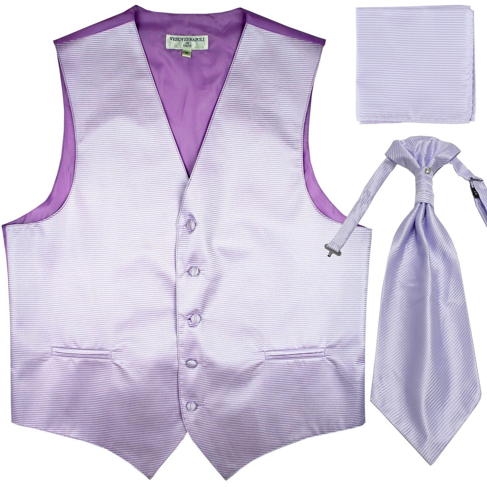 New Men's Horizontal Stripes Tuxedo Vest Waistcoat & Ascot & Hankie Set Lavender