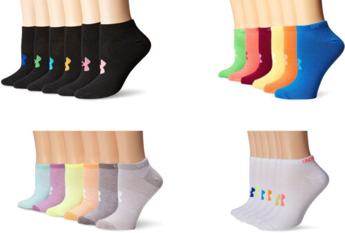 6 Pairs Assorted Colors Under Armour Girls/' Essential No-Show Liner Socks