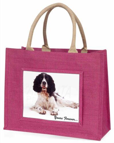 AD-SS8BLP Springer Spaniel Dog /'Yours Forever/' Large Pink Shopping Bag Christma