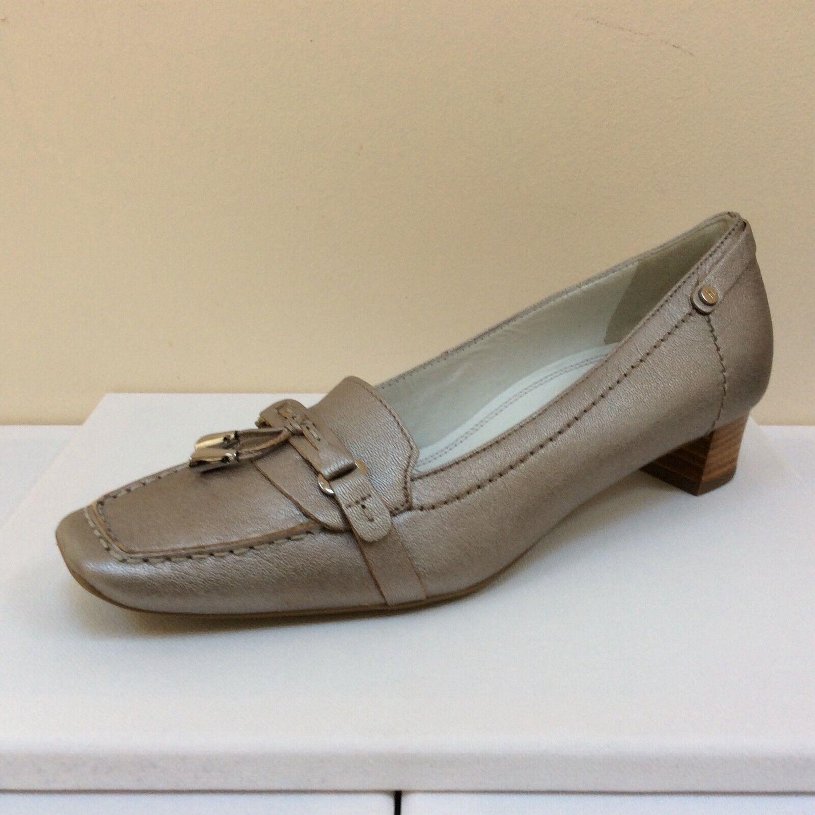 Hogl silver-pewter Leder low heeled loafers, UK 8,   BNWB