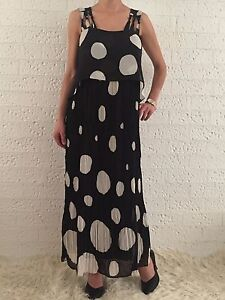 Women-039-s-Cocktail-Evening-Pleated-Polka-Dot-Party-Long-Maxi-Dress-Size-10-12-14