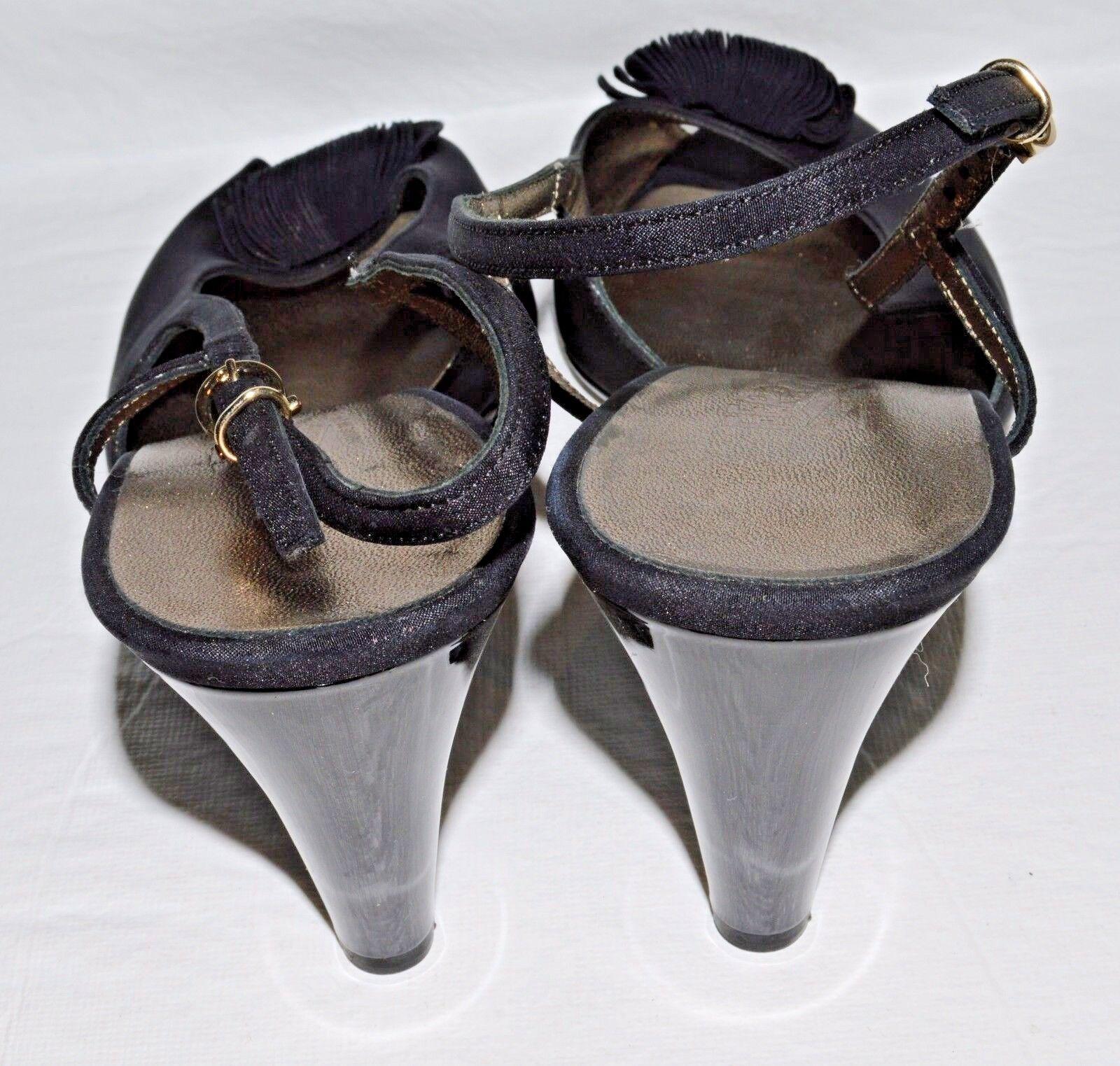 Salvador Ferragamo Vestido 10 B Negro Tela Charol Tacones Vestido Ferragamo Sandalias para Italia 971a9a