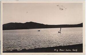 California-Ca-Real-Photo-RPPC-Postcard-c1940s-BIG-BEAR-LAKE-Sailboat-9