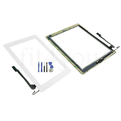 White For iPad 4 Touch Glass Screen Digitizer Home Button Flex Assembly Adhesive