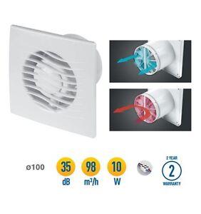 ventilateur pour salle de bain 4 100mm clapet anti retour minuteur ebay. Black Bedroom Furniture Sets. Home Design Ideas
