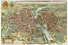 MAP ANTIQUE MERIAN 1650 PRAGUE CITY PLAN OLD LARGE REPLICA POSTER PRINT PAM1091