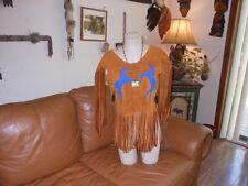 Native American buckskin/deer Indian hide womens top pow wow regalia 9/10