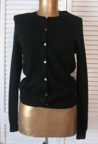 RALPH LAUREN BLACK 100% CASHMERE CARDIGAN SWEATER