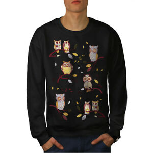 Black New Crazy Men Branch Owl Sweatshirt TwYUx0FnqZ