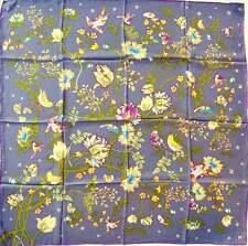 CODELLO Tuch Schal Seide grau lila grün Natur Vögel Blumen NEU