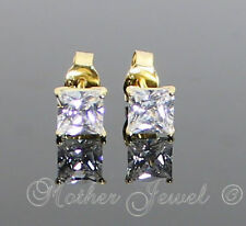 4MM SQUARE YELLOW GOLD SOLID STERLING SILVER SIMULATED DIAMOND EARRINGS STUDS