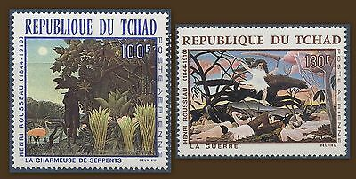 Tchad 1968 Pa N°47/48** Tableaux De Rousseau Paintings Chad Mnh Stamps Africa