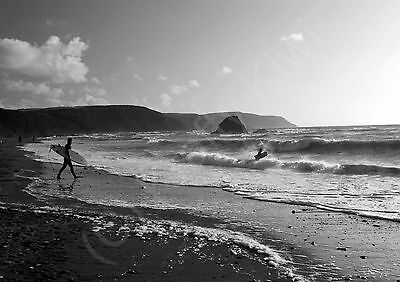 Widemouth Bay Cornwall Surfing Black /& White Photographic Print Various Sizes
