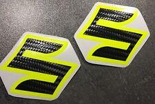 Aufkleber-Set 2-teilig für SUZUKI GSXR GSX-R 600 750 1000 Emblem Carbon-Neongelb