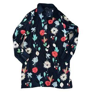 Zara-Woman-Size-US-L-Bold-Black-Floral-Long-Sleeve-Blouse-Top-Tunic-Women-039-s